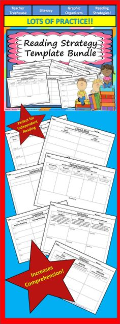 This is a great bundle of reading strategy templates that can be used with any book. The templates are very simple and well organized. There are templates designed for the following reading strategies: - Inferences - Predictions - Questioning - Summarizing - Compare and Contrast - Cause and Effect - Vocabulary