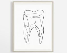 One Line Teeth Drawing Abstract Molar Print Medical Dentist Doctors Office Decor, Dental Office Decor, Dental Office Design, Office Art, Doctor Office, Dentist Art, Gifts For Dentist, Tooth Tattoo, Teeth Drawing