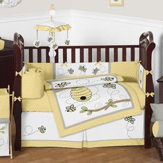 You'll love the Honey Bee 9 Piece Crib Bedding Set at Wayfair - Great Deals on all Baby & Kids products with Free Shipping on most stuff, even the big stuff. Baby Girl Themes, Baby Room Themes, Baby Room Decor, Baby Rooms, Kids Rooms, Nursery Decor, Yellow And Gray Bedding, Yellow Nursery, Baby Bedding Sets