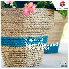 Create this rope-wrapped flower pot with just a few simple craft supplies – wind rope or sisal twine, plastic pot, glue and latex paint.  What's your favourite #homedecor, #diy project idea?