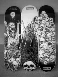 Riddick nails it again... if you are a fan of zombies, exhumed corpses and just cool pusshead style skeletal art, go check out RiddickArt.com and I guarantee you will be hooked forever SkullyBloodrider. Skateboard Deck Art, Longboard Decks, Skateboard Design, Complete Skateboards, Cool Skateboards, Bmx, Skate Photos, Skate Art, Skate Decks