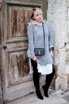 YSL bag XXL Sweater grey overknees