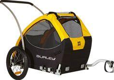 Burley Design Tail Wagon Dog Bike Trailer, Yellow/Black, Side battens, flip-down tailgate, 75 lb. Cool Bicycles, Cool Bikes, Pet Bike Trailer, Bike Trailers, Biking With Dog, Dog Stroller, Dog Carrier, Bike Rack, Bike Accessories