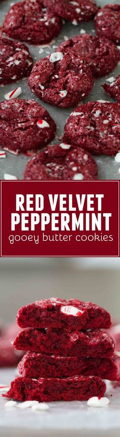 A holiday twist on red velvet, these Red Velvet Peppermint Gooey Butter Cookies are a cinch to make and have the perfect amount of holiday flair. #redvelvet #cookies #holiday #recipe #christmascookie #peppermint