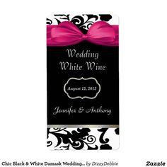 Chic Black & White Damask Wedding Wine Labels