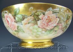 """LOVELY LIMOGES FRANCE HAND PAINTED ROSES & GRAPES 14"""" PUNCH BOWL"""
