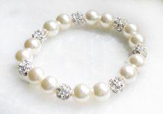 Pearl bracelet with rhinestones bridal jewelry by asteriasbridal, $9.50