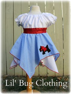 Custom Boutique Clothing Dorothy Wizard of Oz Toto Peasant Dress Costume Halloween Outfit