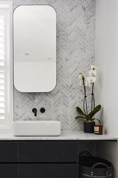 The hits and misses of ensuite reveals from The Block Rectangular mirrored shaving cabinets with rounded edges and sleek black frame in bathroom. Feature herringbone marble tile wall in bathroom Bad Inspiration, Bathroom Inspiration, Bathroom Styling, Bathroom Interior Design, Interior Walls, Simple Bathroom, Bathroom Black, Bathroom Marble, Bathroom Cabinets
