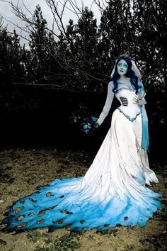 Since I will have to do something else with my wedding dress for my beating heart bride costume, maybe recycle it as the corpse bride.  So pretty.