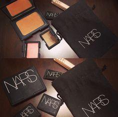 Makeup porn , one brand NARS Laguna bronzer , brow powder, blush, concealer, and primer.
