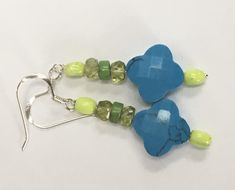 Peridot Earrings, Dangly Earrings, Etsy Earrings, Drop Earrings, Handmade Sterling Silver, 925 Silver, Turquoise Flowers, Neon Green, Topaz