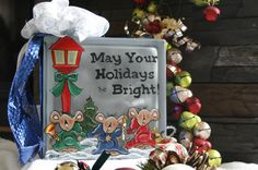 May your holidays be bright -glass block