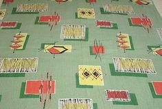 Mid-century Modern Eames Vintage Barkcloth Fabric - Green, Salmon, Chrome Yellow, Black - 36 by 32 inches. , via Etsy.