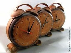hand made leather clock