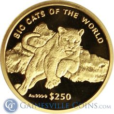 2001 Big Cats of the World Cougar Proof Gold and Silver Set oz Gold & oz Silver) Gold And Silver Coins, Challenge Coins, Gold Bullion, World Coins, 1 Oz, Big Cats, Count, Stamps, Pretty
