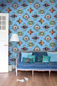 Afbeelding van Ruby Robin wallpaper blauw