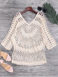 See-Through Crochet Cover Up Top - BEIGE ONE SIZE