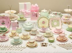 vintage china tea set, I need to get one for Miss Maddie.