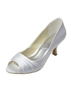 White Pleated Satin Peep Toe Bridal Wedding Shoes. See More Bridal Shoes at http://www.ourgreatshop.com/Bridal-Shoes-C919.aspx