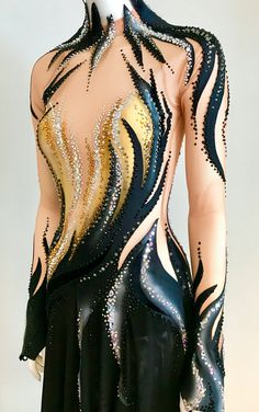 Gymnastics Competition Leotards, Gymnastics Costumes, Dance Costumes, Figure Skating Outfits, Figure Skating Costumes, Trajes Drag Queen, Unique Costumes, Drag Queen Outfits, Fashion Illustration Dresses