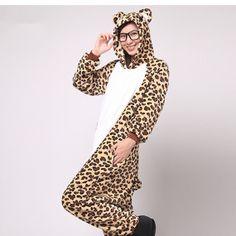 Kigurumi Leopard Pajamas for Women Men Boy Flannel Adult Onesies Pajamas Unisex Onesie Animal Cosplay Costume (Slipper Not Included)