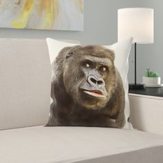 East Urban Home This throw pillow features a super soft faux suede fabric with a cream colored backside and a polyester filling. Chevron Throw Pillows, Fur Throw Pillows, Throw Pillow Sets, Outdoor Throw Pillows, Lumbar Pillow, Accent Pillows, Funny Animal Faces, Faux Suede Fabric, Cotton Pillow