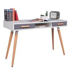 WOHNLING desk MDF Retro wooden table 120cm wide drawers white office table Design Scandinavian computer table. What for?. The 2 drawers and storage compartment provide enough space for pens and other office supplies - through the Scandinavian retro design a real eye-catcher. | eBay!