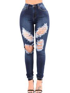 Ripped Denim Jeans Blue Women's Cut Out Skinny Leg Pants
