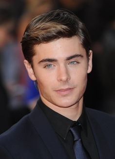 Zac Efron, ombre hair with combed back bangs and side part