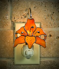 Tiger Lilly Stained Glass Nightlight