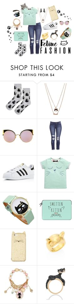 """""""Here Kitty Kitty"""" by britt-danielle89 ❤ liked on Polyvore featuring Topshop, Betsey Johnson, Fendi, adidas, Casetify, Kate Spade and STELLA McCARTNEY"""