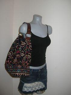 Blue Velvet Bohemian Tote Bag Suzani Uzbek Style Tapestry  Hobo Handbag Leather Strap