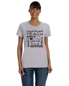 custom teacher t-shirt with inspiring words by OodlesDecals