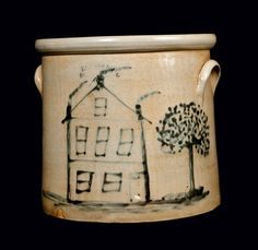 ca 1890 American 4 gallon stoneware crock Antique Crocks, Old Crocks, Antique Stoneware, Stoneware Crocks, Antique Pottery, Primitive Antiques, Earthenware, Glazes For Pottery, Ceramic Pottery