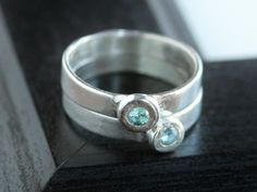 Custom Fine Silver Birthstone Stacking Ring - Sparkle Droplet Ring | 2 Sisters Handcrafted visit www.2sistershandcrafted.com for details
