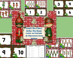 FREE!! Elf Counting!  Write the Room! Count the Room! This is an elf / Christmas themed math center. It is perfect for preschool and Kindergarten, as well as, special education instruction. It is appropriate for the school and homeschool setting.