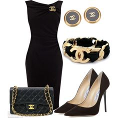 LBD with Chanel Accessories - - Chanel little black dress and all of the chanel/Jimmy Choo goodies to go with it 🙂 Source by xuanlantran Lila Outfits, Mode Outfits, Classy Outfits, Dress Outfits, School Outfits, Maxi Dresses, Dresses 2013, Party Outfits, Dress Clothes