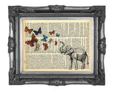 nommon  http://www.etsy.com/listing/74608361/elephant-butterfly-3-dictionary-print?ref=cat2_gallery_10