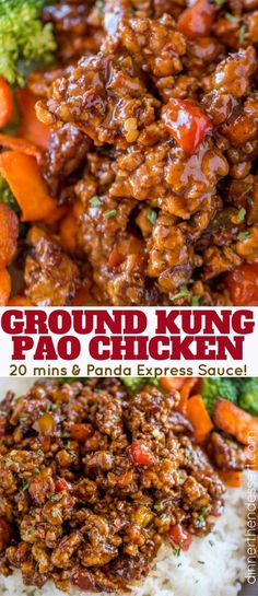 The WHOLE FAMILY loved this Ground Kung Pao Chicken! Plus the veggies were so fi. The WHOLE FAMILY loved this Ground Kung Pao Chicken! Plus the veggies were so finely minced they were hidden! Made with Panda Express Copycat Sauce! 21 Day Fix, Asian Recipes, Healthy Recipes, Healthy Ground Chicken Recipes, Veggie Mince Recipes, Advocare Recipes, Ground Meat Recipes, Asian Cooking, Mets