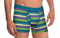 PACT Teal Multistripe Boxer Brief