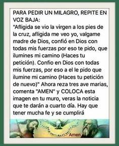 La oración milagrosa Prayer For Love, God Prayer, Prayer Room, Daily Prayer, I Love You God, God Help Me, Catholic Prayers In Spanish, Easter Prayers, Miracle Prayer