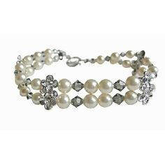 Purchase Black Diamond Crystals Swarovski Cream Pearls Double Stranded Bracelet from FashionJewelryForEveryone on OpenSky Swarovski Jewelry, Pearl Jewelry, Jewelry Necklaces, Beaded Bracelets, Pearl Cream, Strand Bracelet, Matching Necklaces, Silver Flowers, Black Diamond