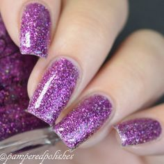 Items similar to Dancing Orchid- Fuschia purple holographic glitter polish on Etsy Coffin Nails Designs Summer, Summer Acrylic Nails, Toe Nail Designs, Coffin Nails Ombre, Gel Nails, Pedicure Nails, Manicure, Nail Polish, Galaxy Nails
