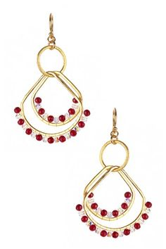 Chan Luu Mixed Red Coral Layered Drop Earrings on HauteLook
