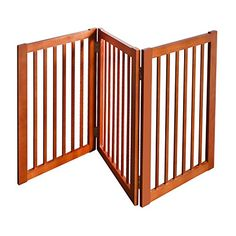 WELLAND Wood Free Standing Folding Pet Gate 54Inch Light Cherry Finish -- You can get more details by clicking on the image.