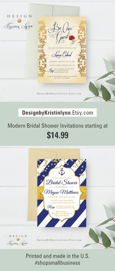 Tons of modern Bridal Shower Invitations! Invitations ship fast and custom requests are accepted! I print and ship in the US. Support a small business. #designbykristinlynn #bridalshowerideas #bridal #invitation #invitations #bridalshowerstationery #printedbridalshowerinvitatios