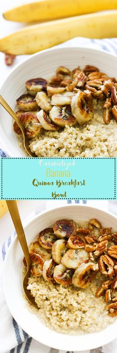 Thiscaramelized banana quinoa breakfast bowl is packed with protein, gluten free, and makes for the perfect quick breakfast!
