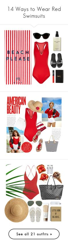 """""""14 Ways to Wear Red Swimsuits"""" by polyvore-editorial ❤ liked on Polyvore featuring waystowear, redswimsuits, Milly, Bobbi Brown Cosmetics, Sonia Rykiel, Schutz, Yves Saint Laurent, NARS Cosmetics, Capelli New York and Kate Spade"""