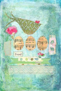 Cute bird and musical eggs